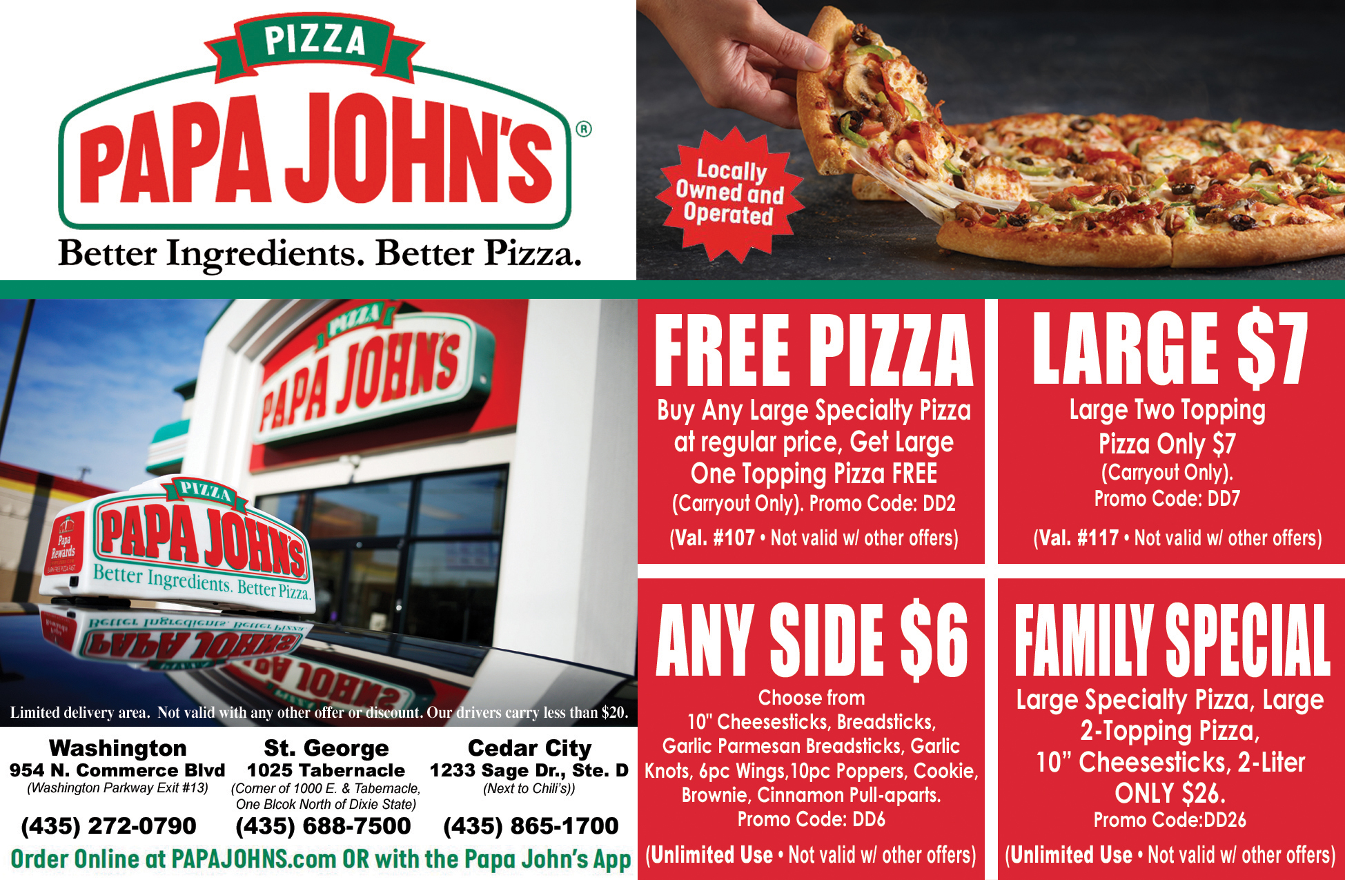 Papa Johns Pizza - deals, wings