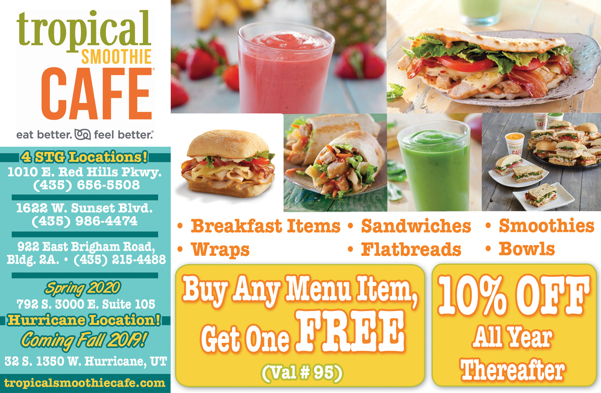 Tropical Smoothie Cafe - smoothies, sandwiches